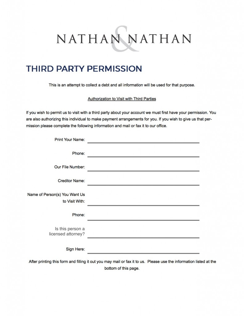 Third Party Permission | Nathan & Nathan